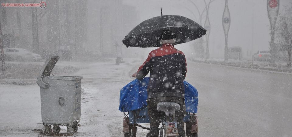 Yüksekova'da lapa lapa kar yağışı