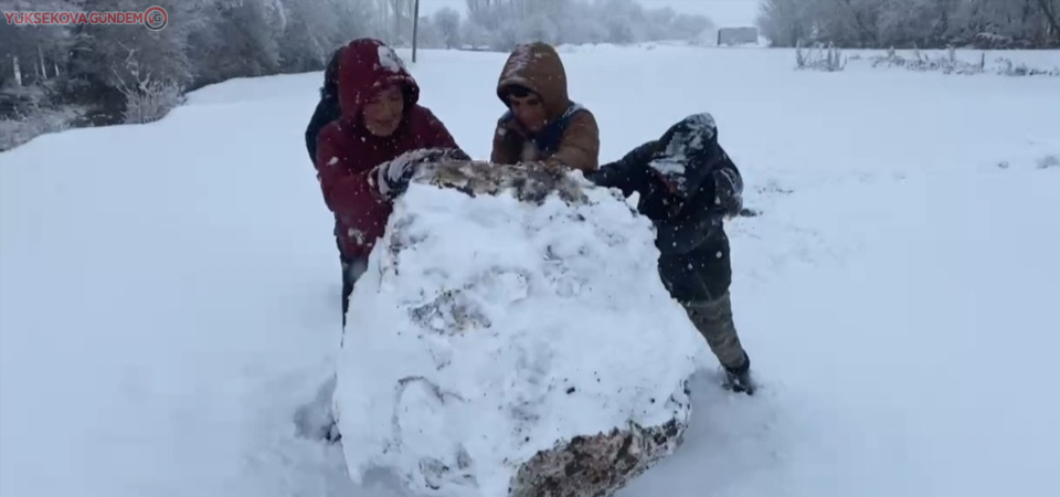 Yüksekovalı çocukların kar sevinci