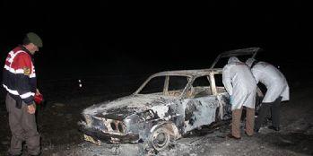 Yanmış otomobilde 2 ceset bulundu
