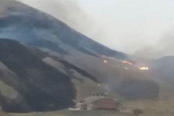 Hakkari'de anız yangını korkuttu