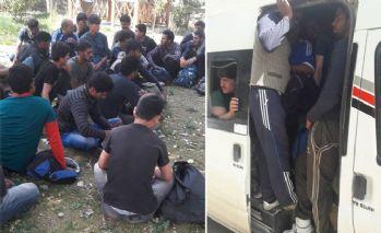 18 kişilik minibüste 50 kaçak göçmen yakalandı