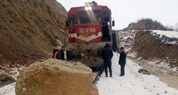Kopan kayaya tren çarptı, facia ucuz atlatıldı